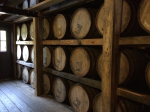 Bourbon aging in a rick house.